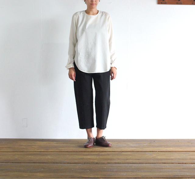 evam eva  エヴァムエヴァ cotton wool nocollar shirt