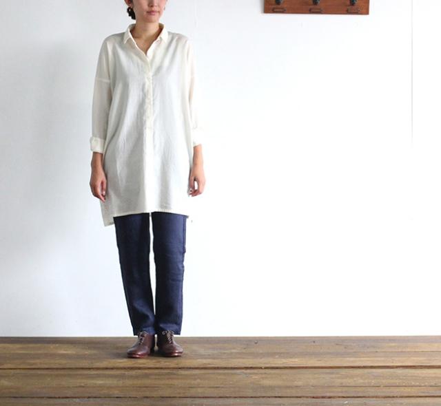evam eva  エヴァムエヴァ cotton wool square shirt tunic