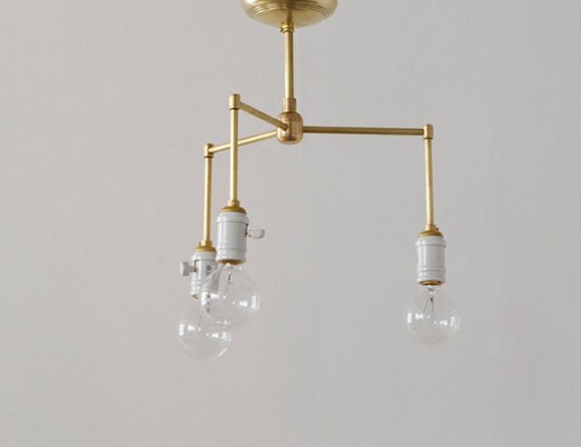 ACME FURNITURE アクメファニチャー SOLID BRASS LAMP 3ARM Porcelain ソリッドブラスランプ3アームポーセリン