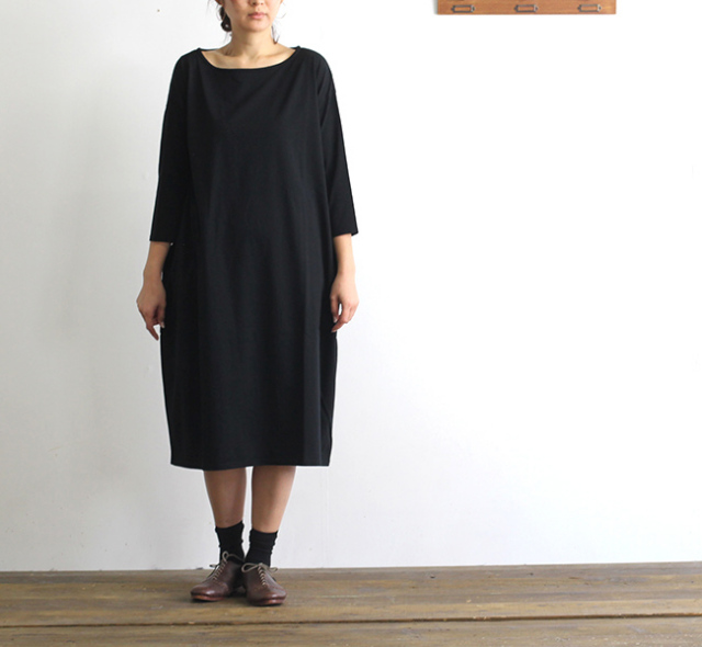 evam eva  エヴァムエヴァ cut&sew drop pocket one-piece