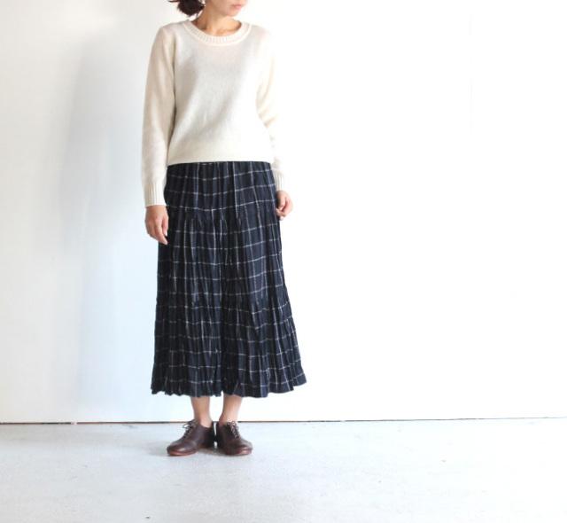 rockmount /ロックマウントプリーツスカート wool navy windowapane