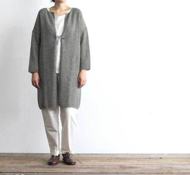 evam eva  エヴァムエヴァ wool cotton ring robe