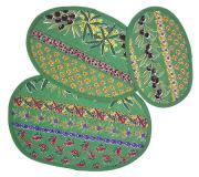 プロヴァンスキルティングランチョンマット:オーバル型3枚セット(ミモザ&オリーブ&小紋・グリーン) SET_TP_OVL1 【フランス】