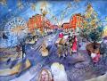 プロヴァンス風景絵画(Nice ニース, マセナ広場のクリスマス )PT_MRT_09