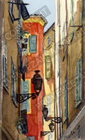プロヴァンス風景絵画(Nice ニース, 旧市街ある裏路地)PT_MRT_14