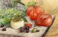 プロヴァンス風景絵画(プロヴァンス特産物、プロヴァンスハーブ・オリーブ・トマト) PT_MRT_30