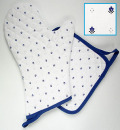 ミトン&正方形鍋つかみセット(カリソン・ホワイト×ブルー)GAN_S31