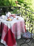 正方形テーブルクロス:トップクロスジャガード織りリネン麻170×170cmサイズ(ヴェルディ・ボルドー)【フランス】 NAP_C57