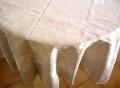 ラウンド・円形テーブルクロス丸テーブル円卓用直径200cmサイズ(ジャガード織りひまわり、抽象柄・ナチュラル)【フランス】NAP_R108
