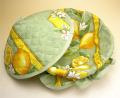 フタ付きブレッドバスケット、パンかご(レモン&小花・ミントグリーン)PAN_C18