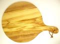 ピザ用オリーブの木のまな板円形、丸、ラウンドオリーブウッドカッティングボード Dモデル【無垢一枚板イタリア製】 PLC_D63