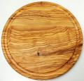 肉用溝つきオリーブの木のまな板、円形ラウンド丸いまな板カッティングボード直径25cmサイズ【イタリア製】オリーブウッド木製PLC_VD03