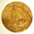 肉用溝つきオリーブの木のまな板、円形ラウンド丸いまな板カッティングボード直径24cmサイズ【無垢一枚板イタリア製】オリーブウッド木製PLC_VD15