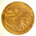 肉用溝つきオリーブの木のまな板、円形ラウンド丸いまな板カッティングボード直径24cmサイズ【無垢一枚板イタリア製】オリーブウッド木製PLC_VD16