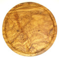 肉用溝つきオリーブの木のまな板、円形ラウンド丸いまな板カッティングボード直径30cmサイズ【無垢一枚板イタリア製】オリーブウッド木製PLC_VD_G02