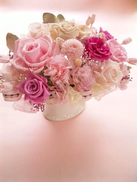 プリザーブドフラワー結婚祝い退職祝い等に特殊メリアパールピンクローズカーネーションさくらL