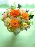 母に日 両親贈呈 開店祝い退職祝いにプリザーブドフラワー高級ゴールドの花器ダンジェリーオレンジ