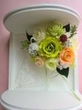 プリザーブドフラワーギフト 結婚祝いお誕生日 にハーフラウンドフレームイエローグリーン