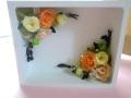 プリザーブドフラワー退職祝い 両親贈呈 開店祝いに 額入りボックスアレンジダンジェリーオレンジ