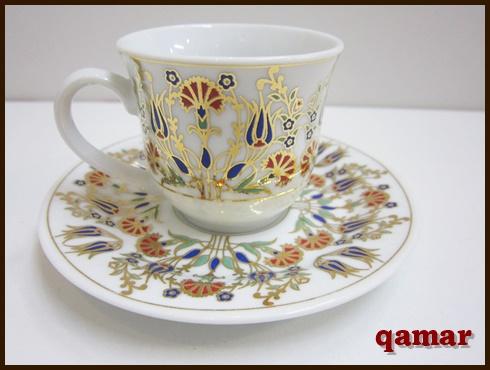 [トルコ雑貨][カップ&ソーサー]【トルココーヒーカップ&ソーサ】伝統的な柄が華やかな磁器製の小さめカップ&ソーサー
