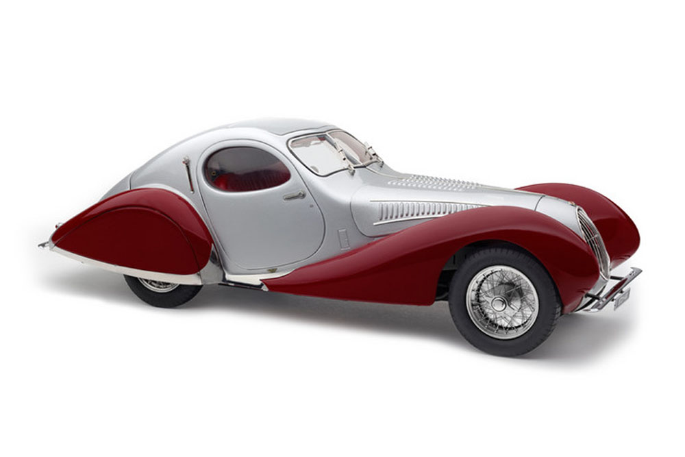 CMC M165 1/18 Talbot Lago Coupe T150 C-SS Figoni & Falaschi Teardrop 1937-1939 Silver/Red