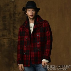 Denim & Supply Ralph Lauren���ǥ˥� & ���ץ饤 ���ե?��� : Wool-Blend Plaid Pea Coat