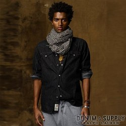 Denim & Supply Ralph Lauren���ǥ˥� & ���ץ饤 ���ե?��� : Black Denim Western Shirt