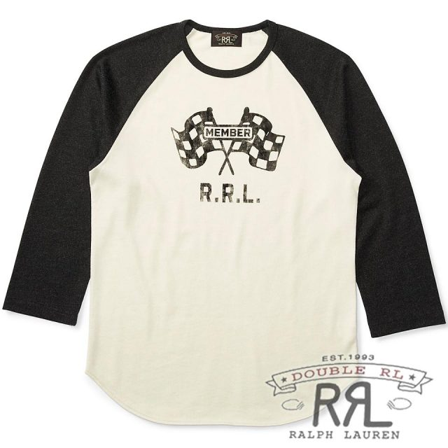 RRL/ダブルアールエル : Jersey Baseball T-Shirt [ジャージー/チェッカーフラッグ/七分袖Tシャツ]