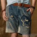 �ǥ˥�&���ץ饤 : Slim Embroidered Denim Short