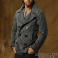 �ǥ˥�&���ץ饤 : Faded Black Denim Pea Coat