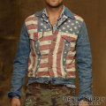 �ǥ˥�&���ץ饤 :Flag-Print Denim Jacket