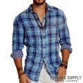 �ǥ˥�&���ץ饤�����ե?��� : Indigo Plaid Cotton Ward Shirt [����ǥ������åȥ��ϥ���ȥ饹�ȥ����å���ŵ�����]