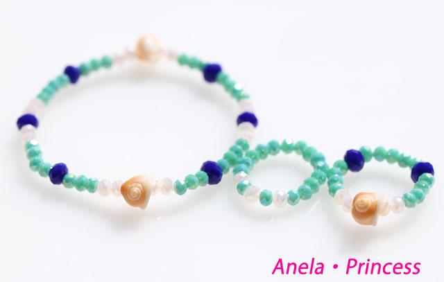 マーメイド貝殻とキラキラクリスタルブレスレット&指輪セット(グリーン)