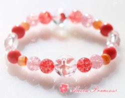 ピンク天使水晶入り、結婚と子宝パワーストーンブレスレット