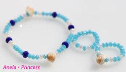 マーメイド貝殻とキラキラクリスタルブレスレット&指輪(ブルー)