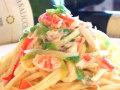 生パスタ 紅ずわい蟹と葱のオリーブオイルソース