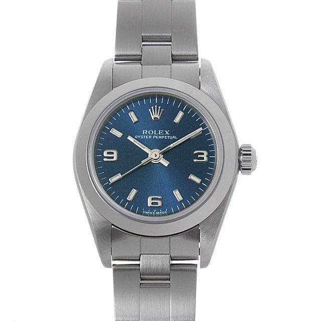 ロレックス オイスターパーペチュアル A番 76080 ブルー/369ホワイトバー
