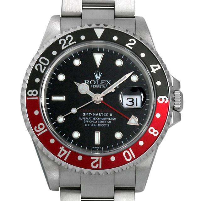 ロレックス GMTマスターII 赤黒ベゼル リアルマッコイズ チャックイエーガー セカンドモデル U番 16710 中古 メンズ
