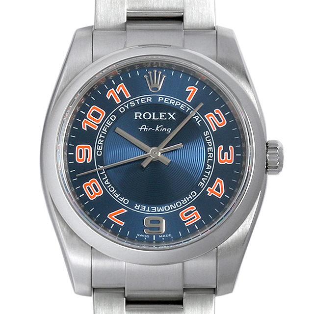 ロレックス オイスターパーペチュアル エアキング M番 114200 ブルーコンセントリック/オレンジアラビア 中古 メンズ