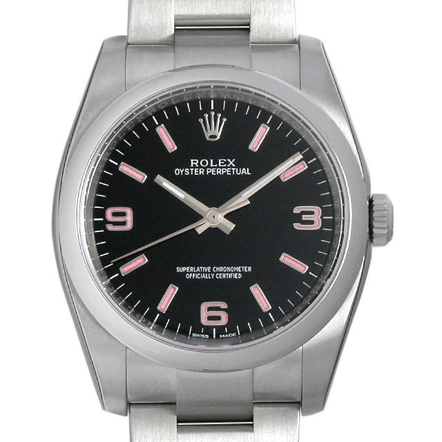ロレックス オイスターパーペチュアル 116000 ブラック/ピンク369 新品 メンズ