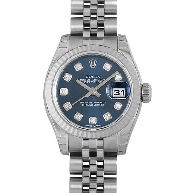 ロレックス デイトジャスト 10Pダイヤ 179174G ブルー 新品 レディース