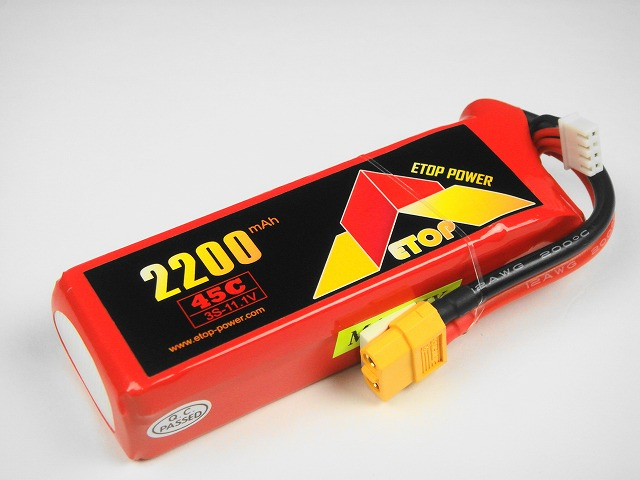 Lipo 3S-2200mAh(45C) XT60付き E−Top Power