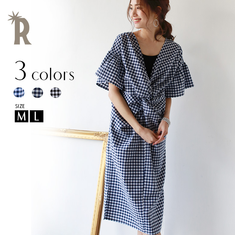 REAL CUBE 前後2WAYギンガムチェックワンピース(RS34180319)【2018 S/S】▼