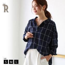 【WinterSALE】REAL CUBE バックリボンチェックブラウス(TM81001)【2018 A/W】▼※返品交換不可