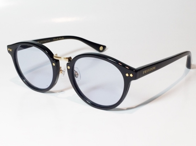 【送料無料】FREEDOM SPECTACLES (フリーダムスペクタクルス) MARTIN  COLOR. ( Black - Yellow Gold  / Light Blue )