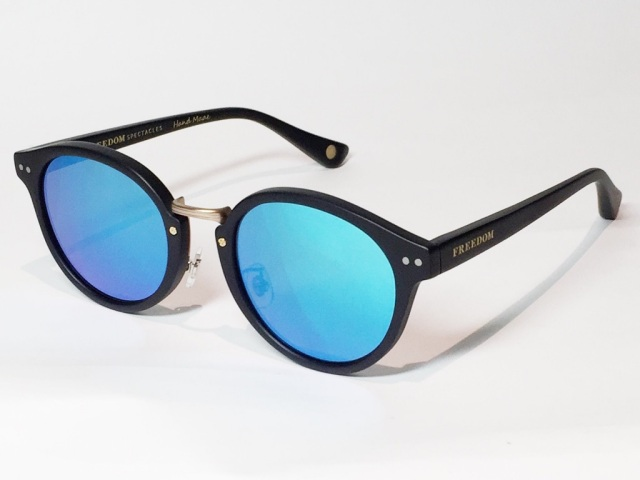 【送料無料】FREEDOM SPECTACLES (フリーダムスペクタクルス) MARTIN  COLOR. 04 ( Matte Black - Matte Yellow Gold  / Blue Mirror )