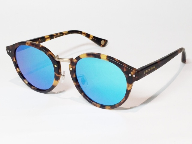 【送料無料】FREEDOM SPECTACLES (フリーダムスペクタクルス) MARTIN  COLOR. 07 ( Matte Yellow Tortoise - Matte Yellow Gold  / Blue Mirror )