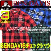 BEN DAVIS シャツ ベンデイビス 半袖シャツ ベンデービス 刺繍入りバッファローチェックシャツ。BEN-960