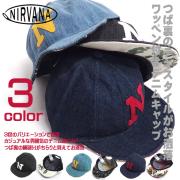 NIRVANA 帽子 ニルヴァーナ デニム キャップ 個性的なテキスタイル アルファベット ワッペン 男女兼用 CAP-027