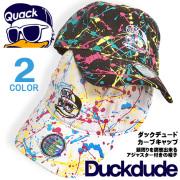DUCK DUDE 帽子 キャップ ダックデュード カーブキャップ アヒルフェイス刺繍 カラフルなしぶきの総柄デザイン CAP-034